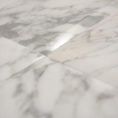 Italian White Cararra Polish 6X6 Heavy Bevel Stone Tile 1