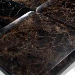 Dark Emperador Marble Polish 6X6 Heavy Bevel Tile. Large Bevel On All Four Sides 1