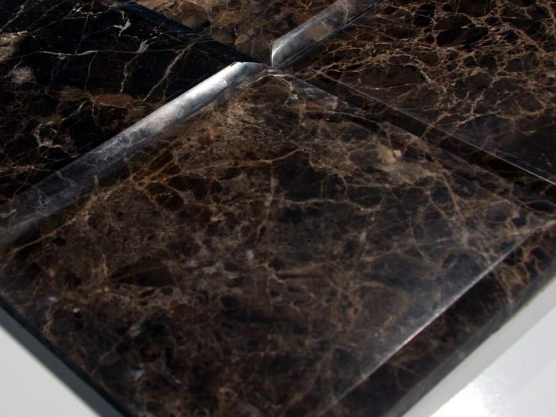 Dark Emperador Marble Polish 6X6 Heavy Bevel Tile. Large Bevel On All Four Sides