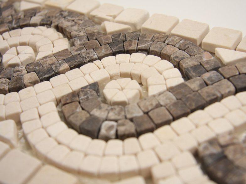 Crema Marfil And Dark Emperador 6 X 12 Mosaic Liner