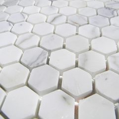 Italian Calacatta Marble Polish 2″ Hexagon Pattern 1