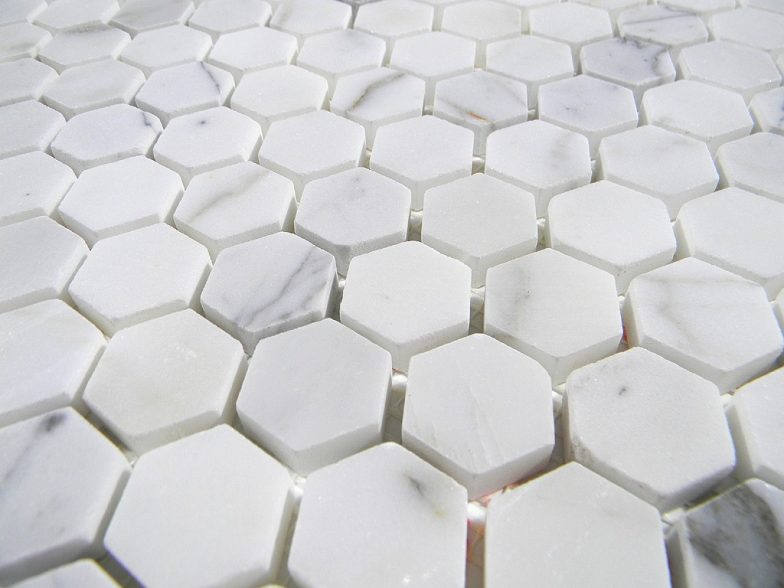 "Italian Calacatta Marble Polish 2"" Hexagon Pattern"