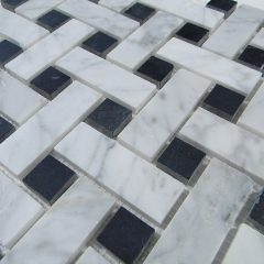 Cararra White Big Basketweave Pattern Honed Marble With Black Dot 1