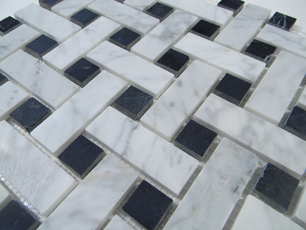 Cararra White Big Basketweave Pattern Honed Marble With Black Dot
