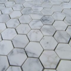 Italian Cararra Marble  Hexagon Pattern 1″ Honed 1