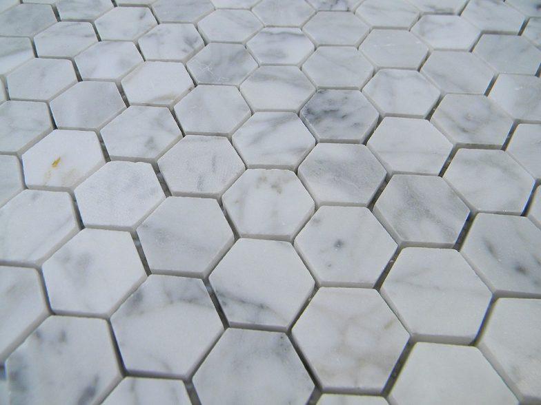 "Italian Cararra Marble  Hexagon Pattern 1"" Honed"