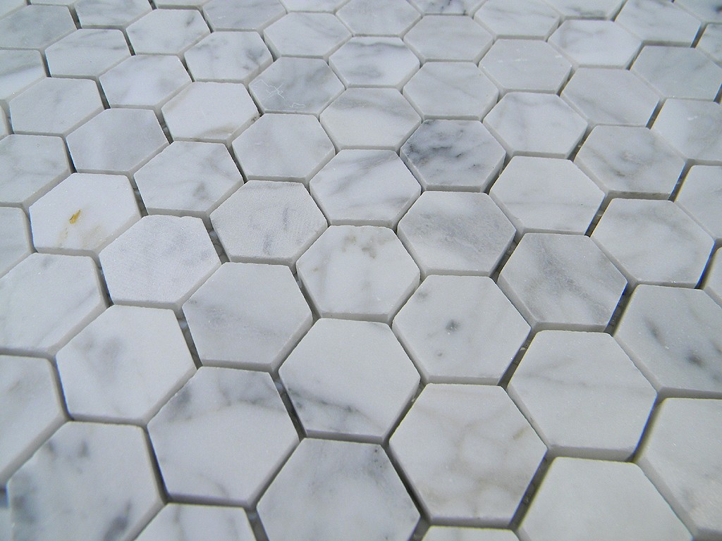"Italian Cararra Marble  Hexagon Pattern 1"" Honed"