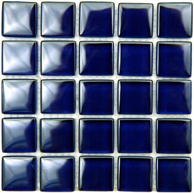 Cobalt Blue Crytsal Glass Tile 1X1 Polish
