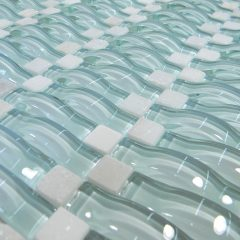 Light Mint Green Wavy 3D Glass Mosaic 1