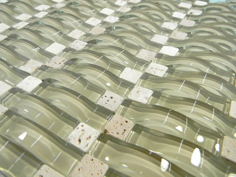 Taupe Wavy 3D  Glass Mosaic