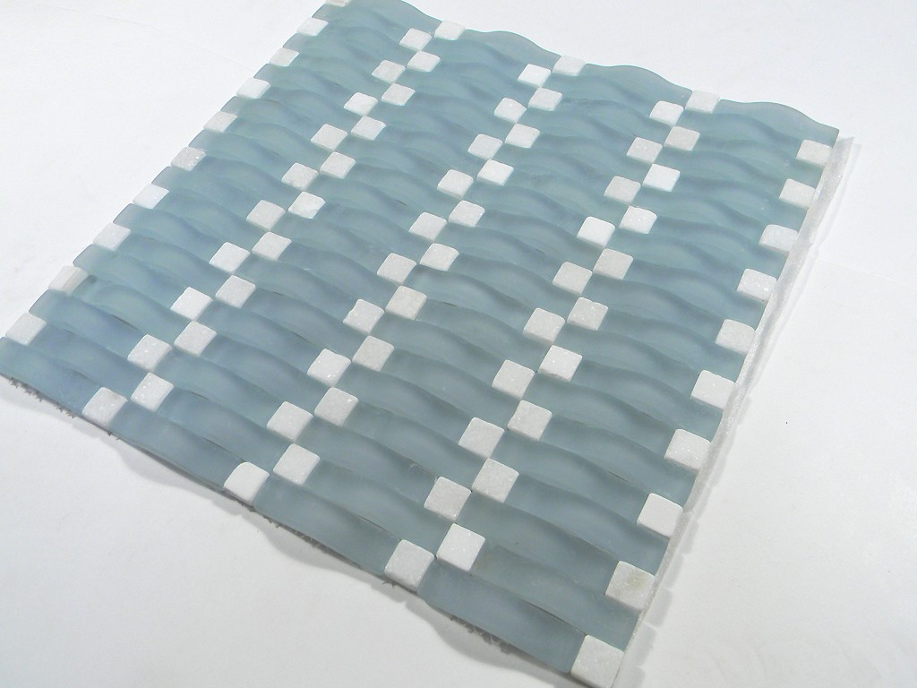 Frost Blue Wavy Glass Mosaic Glass Tile Home