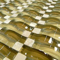 Brown And Tan Wavy 3D Glass Mosaic 1