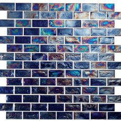 Provocative 1X2 Brick Iridescent Glass Tile 1