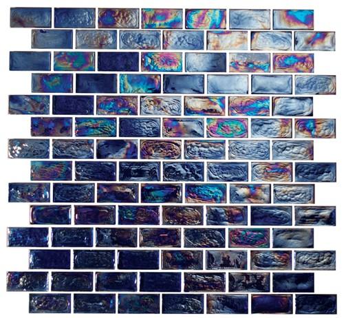 Provocative 1X2 Brick Iridescent Glass Tile