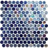 "Provocative 1"" Penny Round Iridescent Glass Tile"
