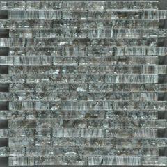 Ocean Pearl Grey  Random Brick Crystal Glass Tile 1