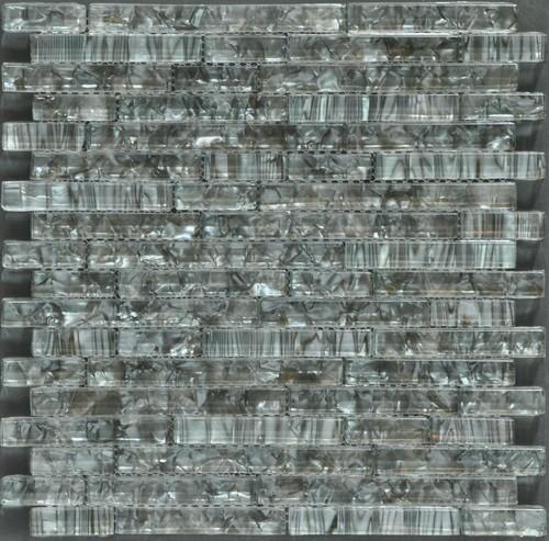 Ocean Pearl Grey  Random Brick Crystal Glass Tile