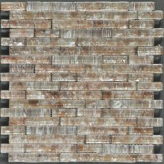 Ocean Pearl Coffee  Random Brick Crystal Glass Tile 1