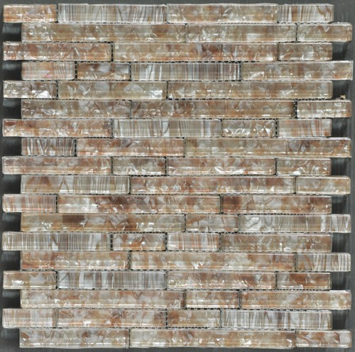 Ocean Pearl Coffee  Random Brick Crystal Glass Tile