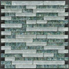 Ocean Pearl Abalone & White  Random Brick Glass Tile 1