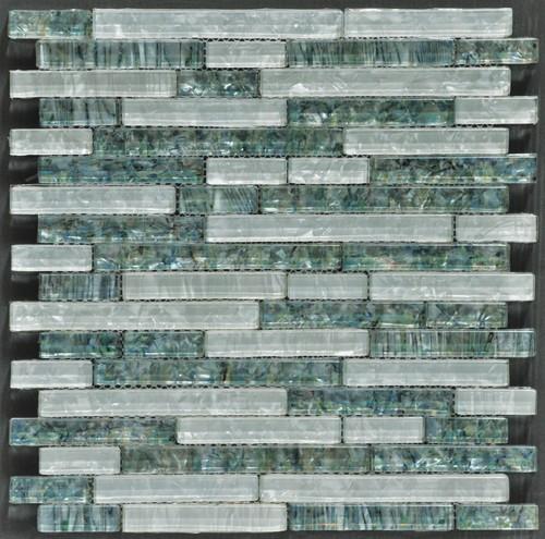 Ocean Pearl Abalone & White  Random Brick Glass Tile