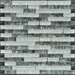 Ocean Pearl Grey & White  Random Brick Glass Tile 1