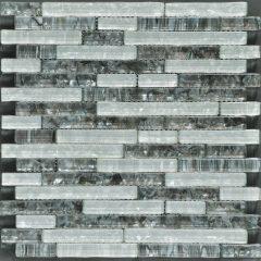Ocean Pearl Grey & White  Random Brick Glass Tile