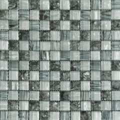 Ocean Pearl Grey & White  Blend -2  Glass Tile 1
