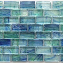Mirabelle Glass Tile Aqua Blue Brick Pattern