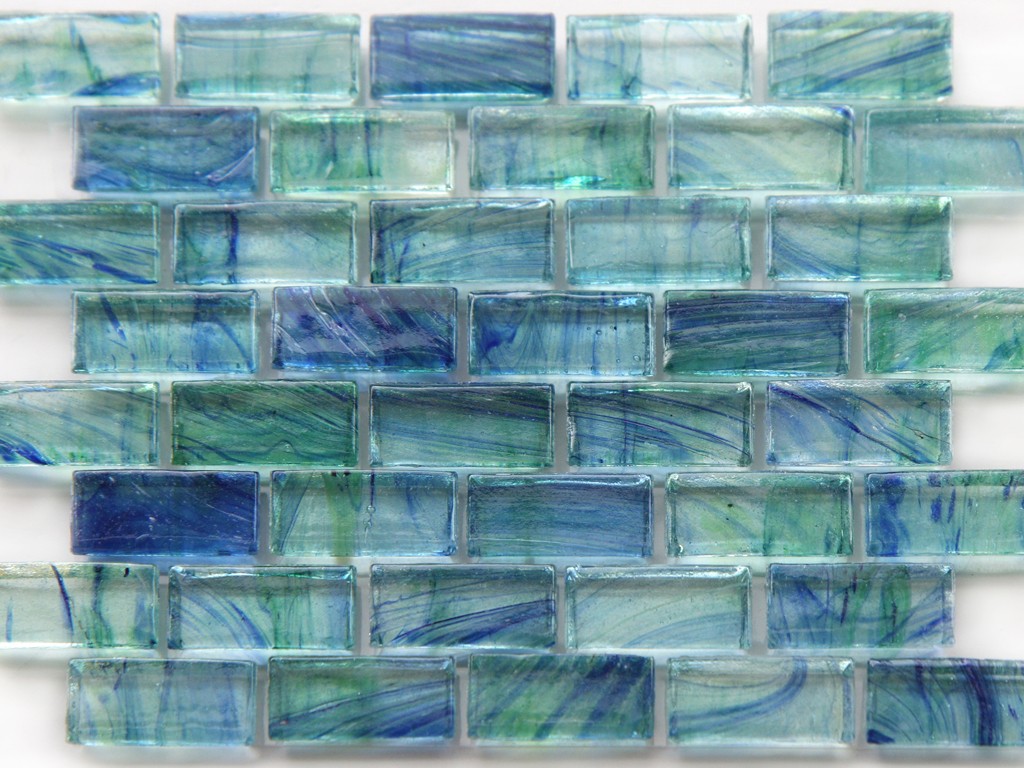 Mirabelle Glass Tile Aqua Blue Green Brick Pattern Glass