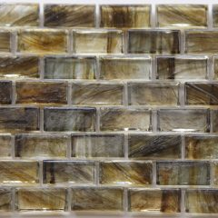 Mirabelle Collection Glass Tile Peat  Brown Brick Pattern 1