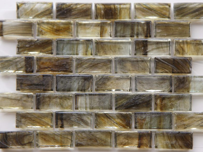 Mirabelle Collection Glass Tile Peat  Brown Brick Pattern