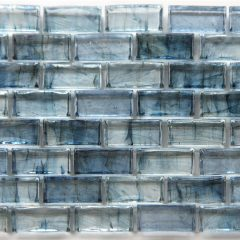 Mirabelle Collection Glass Tile Teal Blue Brick Pattern 1