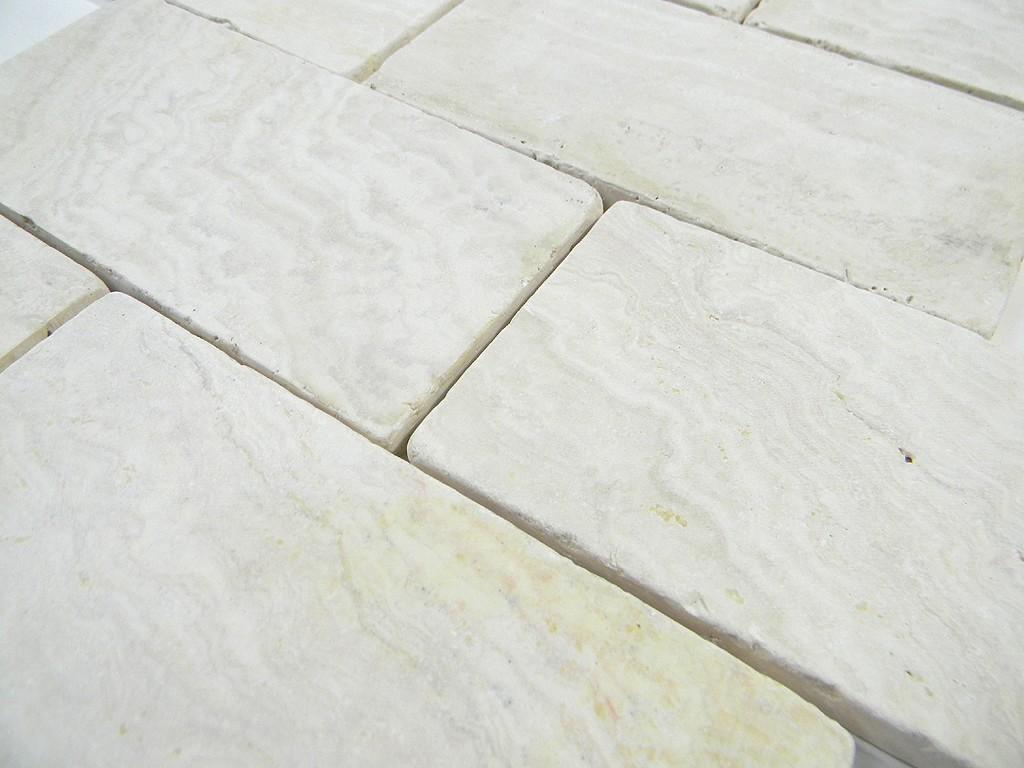 Ivory Travertine Tumbled 3x6 X 8mm Wall