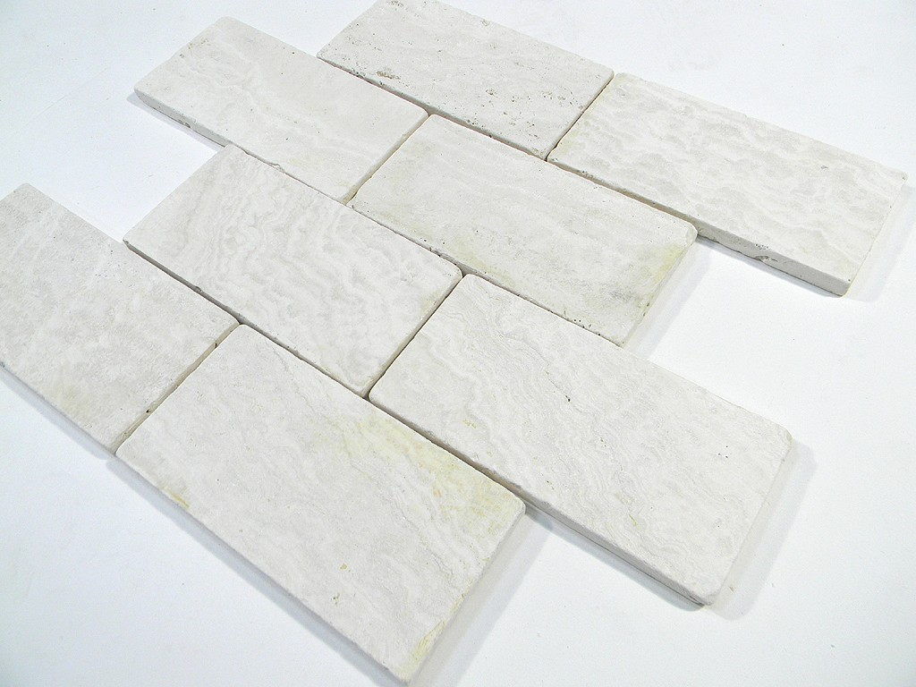 Ivory travertine tumbled 3x6 x 8mm wall floor tile glass for Tumbled glass tile