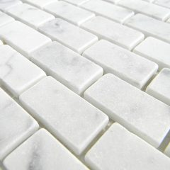 Italian White Cararra Marble Honed  19 X 38  X 6Mm Brick Pattern Floor/Wall Tile 1