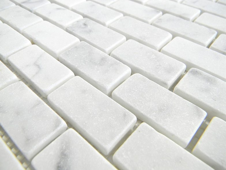 Italian White Cararra Marble Honed  19 X 38  X 6Mm Brick Pattern Floor/Wall Tile