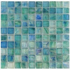 Mirabelle Glass Tile Aqua Blue Brick Pattern – 5/8 X 5/8 Blend 1