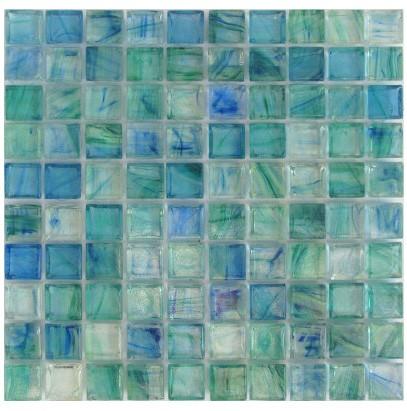 Mirabelle Glass Tile Aqua Blue Brick Pattern - 5/8 X 5/8 Blend