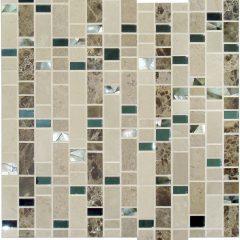 Rainfall Mosaic With Black Seashell