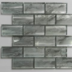 Nebula Silver 2X4 Metallic Glass Tile 1