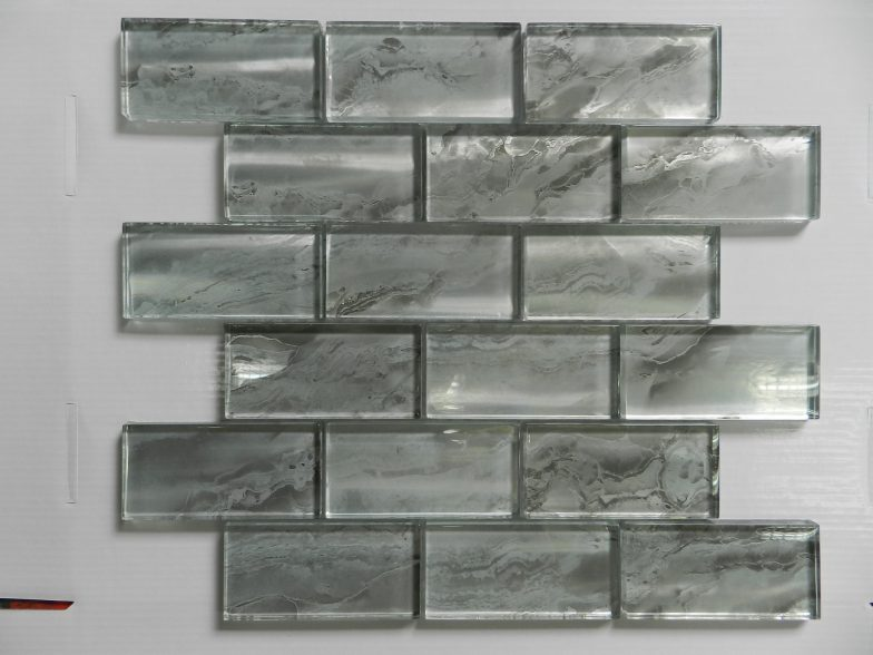 Nebula Silver 2X4 Metallic Glass Tile