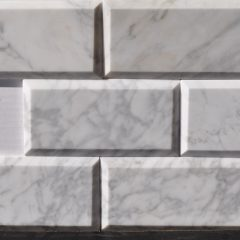 Cararra White 3X6 Polish Bevel  Marble Tile