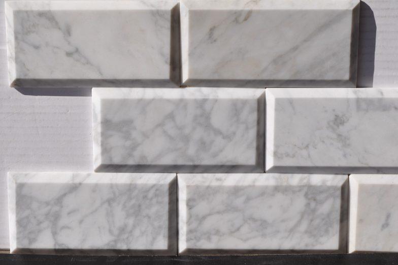 Cararra White 3X6 Polish Bevel  Marble Tile