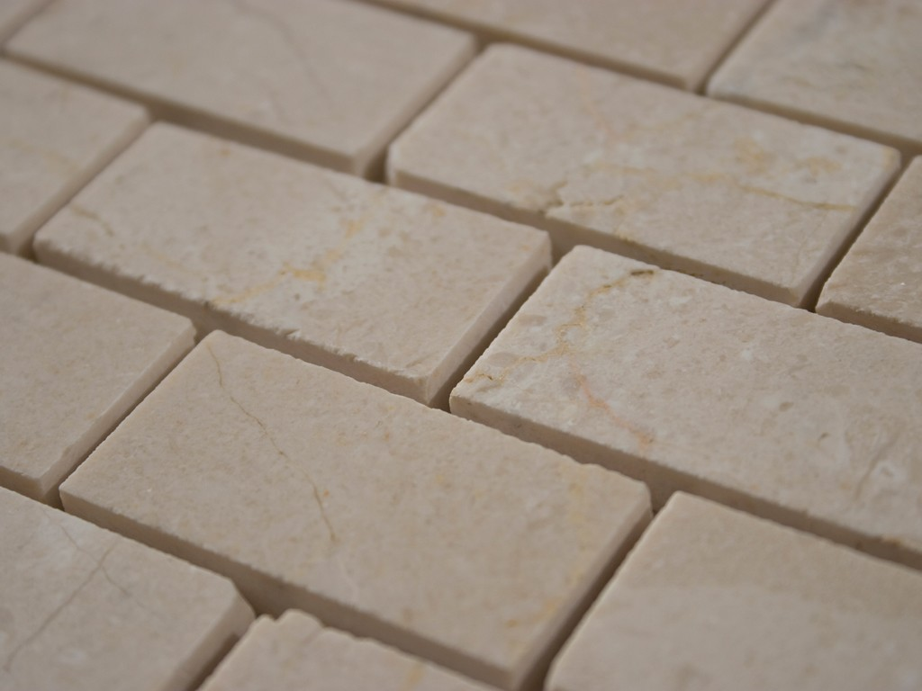 Crema Marfil Polished X Brick Pattern Stone Tile Glass Tile Home - 1x2 tile patterns