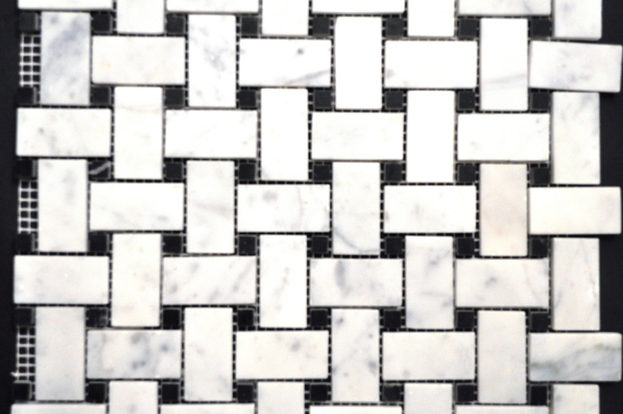 Cararra White Small Basketweave