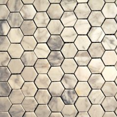 Cararra White Small Hexagon Pattern 1