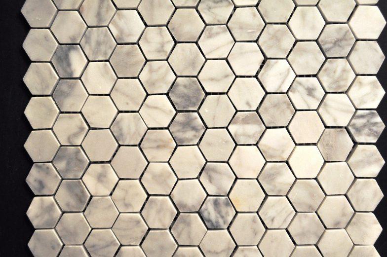 Cararra White Small Hexagon Pattern