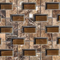 Nicole Pattern Dark Emperador Marble With Glass 1