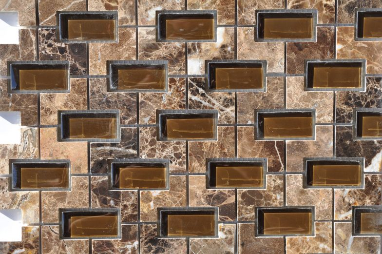 Nicole Pattern Dark Emperador Marble With Glass